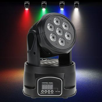 Audibax IOWA 70 cabeza Móvil Disco Wash 7 Led 8W. 4 en 1 RGBW, DMX Master/Esclavo