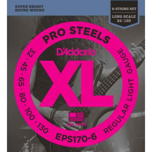 D´addario EPS170 6 ProSteels 6 String Bass, Light, Long Scal