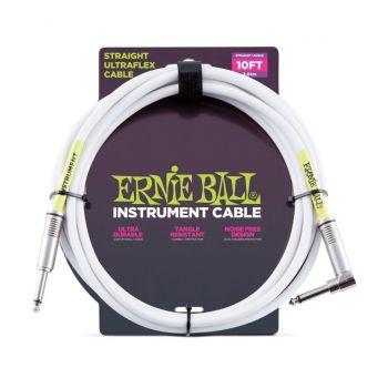Ernie Ball 6049 Cable Ultraflex Jack a Jack 3.05 m. Blanco