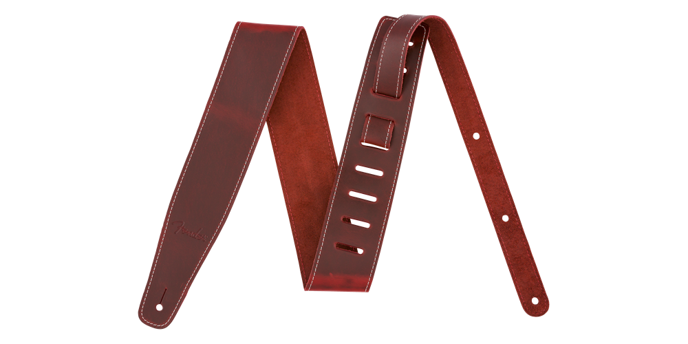 fender broken in leather strap red 2 5
