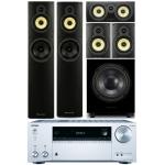 ONKYO TX-NR555-Silver+ Wharfedale Crystal 4 Systems+WHD8