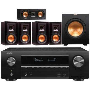 Denon AVRX1500 + Klipsch R-15MIIHC ,Conjunto 4-R15MII, R52C, R100SW Conjunto Altavoces Home Cinema