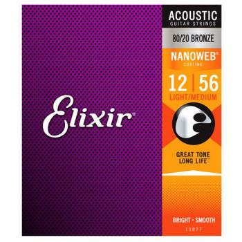 Elixir Nanoweb 11077 Light-Medium Acoustic 12-56