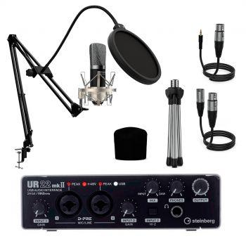 Steinberg Studio Pack Interface Audio UR22 MK2  + Micrófono Estudio Berlín 1800 Silver Pro Pack