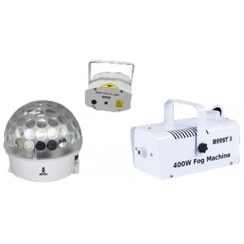 Boost FOG-FEAR2 Blanco 3 Kit de iluminación con Maquina de Humo, Strobo y Laser