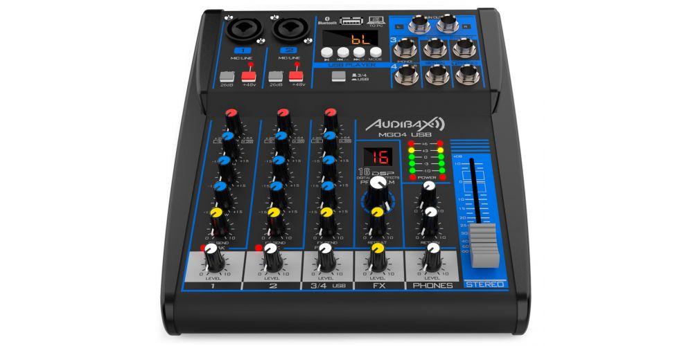 audibax mg04 usb mezcladora con bluetooth mp3 4 canales controles