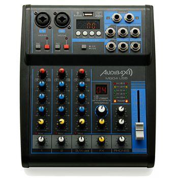Audibax MG04 USB, Mesa Mezclas con 4 canales Bluetooth, MP3 , USB Rec y EFECTOS. ( REACONDICIONADO )