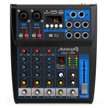 Audibax MG04 USB Mesa Mezclas con 4 canales Bluetooth, MP3 , USB Rec y Efectos