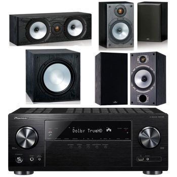 Pioneer VSX-832 BK + Monitor Audio Power 2-BK Conjunto Home Cinema