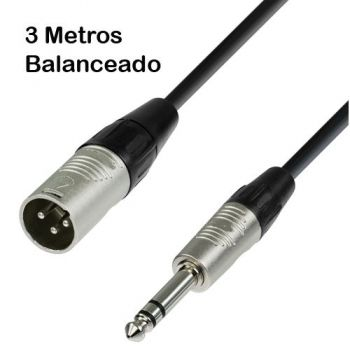 Cable XLR Macho Balanceado a Jack Stereo 3m RF:03