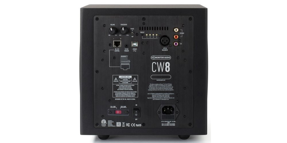 monitor audio cw8 subwoofeer activo custom conexiones