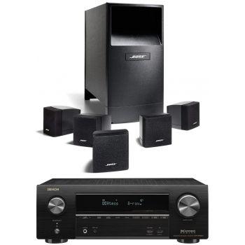 DENON Equipo AV AVR-X1600H + Bose AM-6V Negros Altavoces Home Cinema