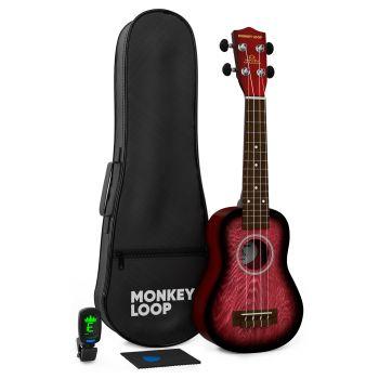 Monkey Loop Jungle Pack Red Ukelele Soprano ( Ukelele, Funda, Afinador, Púa y Gamuza Limpiadora )