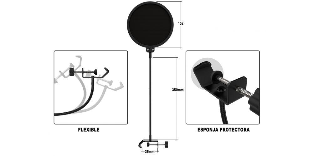 audibax anti pop filtro micro