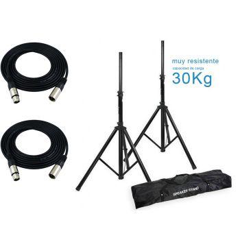 Soportes altavoz profesional con bolsa Audibax ( 2 unidades ) + 2 Cables XLR 6 Metros