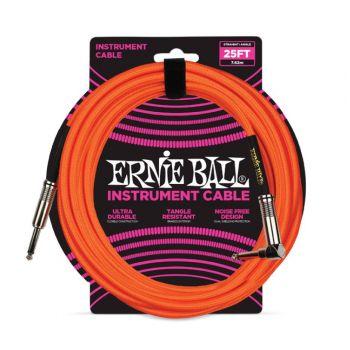 Ernie Ball 6067 Cable Instrumento Trenzado JACK-JACK 7,62 Metros Naranja