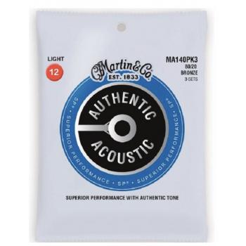 Martin MA140PK3 Cuerdas Guitarra Acústica Pack 3 Unidades Authentic Sp Bronze 80/20 Light 12-54
