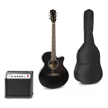 max Show Kit Guitarra Acústica Electrificada Negra con Amplificador 173170