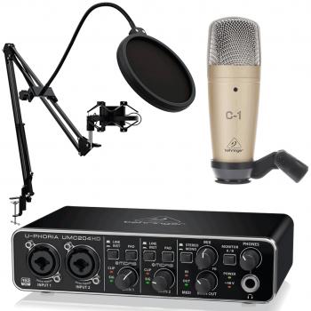 Behringer Pack U-Phoria Estudio Interface USB UMC204HD + Micrófono Estudio Behringer C1 + Accesorios Micro
