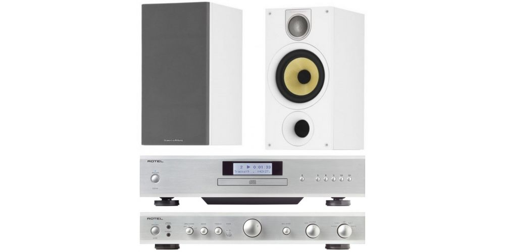 rotel a10 silver amplificador cd14 bw686 blanco