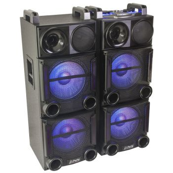 Party BOX 412 Sistema de Sonido con USB, SD, FM Y Bluetooth 2x12