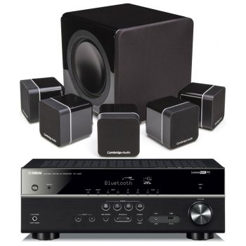 Yamaha RXV485+MINX12 BLACK Cinema Pack + X201 SUB Conjunto Home Cinema