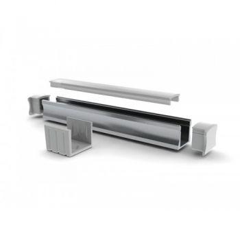 Quarkpro AL-P15 Perfil Aluminio Canal Tipo U con Tapa Frost 2 Metros 15 Mm
