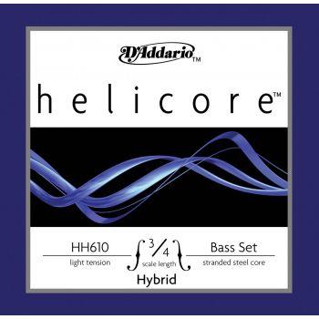 D´addario HH610 Juego cuerdas  Helicore Hybrid para contrabajo 3/4, tensión suave