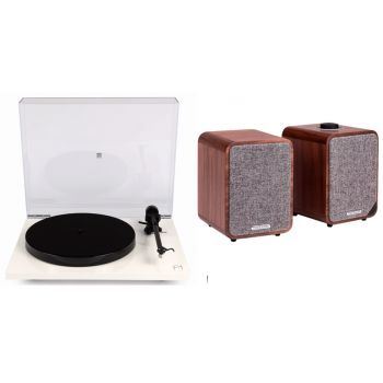 REGA Planar 1 Plus White+Ruark MR1 MK2 Walnut