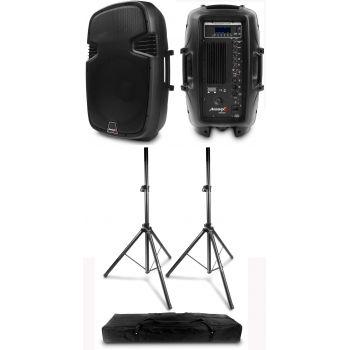 2 x Altavoces PRO Bluetooth Audibax Arkansas 10 400W + Soportes Altavoz Neo 130 con Bolsa