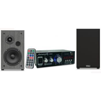 Equipo HiFi Bluetooth Kansas 40+40W + Altavoces Estantería Wiibo String 15 100W