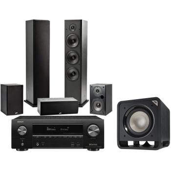 Denon Equipo AV AVR-X1600 + Polk T50 + T30 + T15+ HTS10 Altavoces Home Cinema.