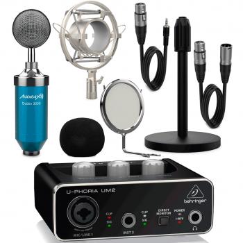 Interface Audio Behringer UM2 U-Phoria + Micrófono Estudio Blue Pack Dublín con Accesorios
