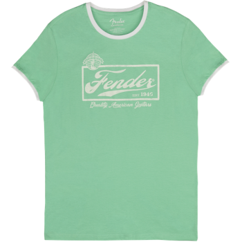 Fender Beer Label Men Ringer Tee Sea Foam Green and White XL