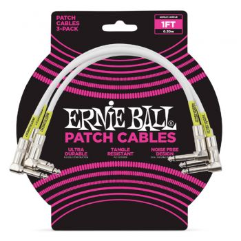 ERNIE BALL 6055 CABLE INTERLINK PVC JACK-JACK AA Blanco - 0,30m (PACK de 3)