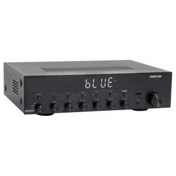 Fonestar AS-3030 Amplificador Bluetooth 30W + 30W RMS. Entrada Micrófono con Mezcla y Echo.Karaoke. Radio FM .Entradas USB . Acabado Aluminio