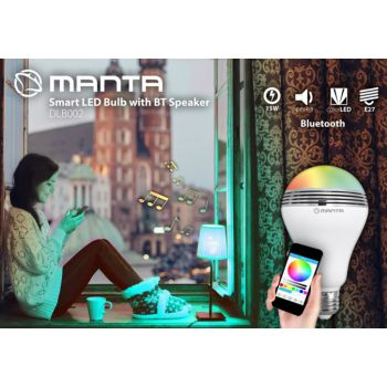 MANTA DLB002 Smart LED Bombilla inteligente con Altavoz Bluetooth