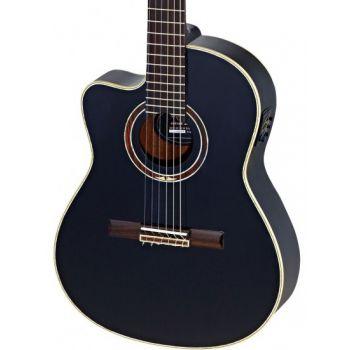 Ortega RCE138-4BK-L Guitarra Clásica para Zurdos Electrificada Black