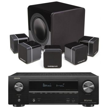 Denon Equipo AV AVRX1500H + cambridge Audio Minx12 Negro Cinema Pack + X201 SUB Altavoces Home Cinema