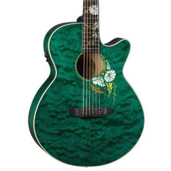Luna Guitars Flora Moonflower Folk Trans Mallard. Guitarra Electroacústica