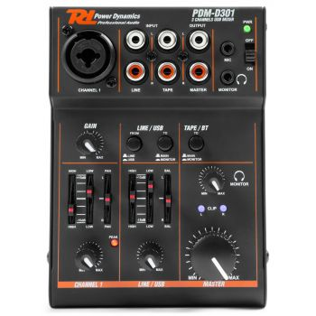 Power Dynamics Mezclador 3 Canales Usb Pdm D301 172600