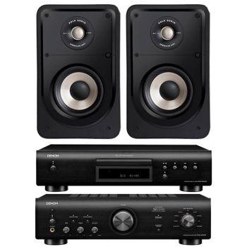 Denon PMA-600 NE Black+DCD-600+Polk Audio S15E Conjunto Audio