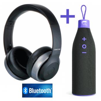 OT HARMONY-G Auriculares Bluetooth Negro/Gris + OT Cola Bottle Altavoz Bluetooth