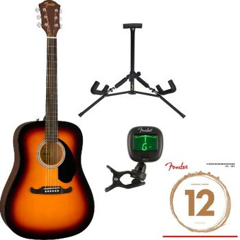 Fender FA-125 Dreadnought WN Sunburst Pack Guitarra Acústica ( Guitarra + Soporte + afinador + Cuerdas Extra )
