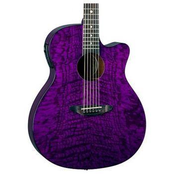 Luna Guitars Gypsy Quilt Ash A/E Trans Purple Guitarra Electroacústica