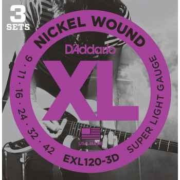 D´addario EXL120 - XL Super Light (pack 3 juegos) Cuerdas para Guitarra Eléctrica