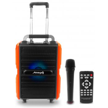 Audibax Combo PORT10-VHF Orange 150W Altavoz Trolley Bluetooth con Batería + Micrófono inalambrico
