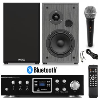 Equipo HiFi Multimedia Karaoke Fonestar AS-123RUB + Altavoces HiFi Estantería Wiibo String 15 + Micrófono Audibax Tokyo