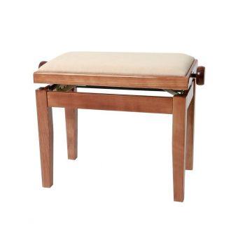 GEWA 130090 Banqueta de Piano Deluxe Cerezo Brillante Tapizado beige