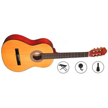 OQAN QGC25 Pack Guitarra Clásica con Accesorios. Funda + Afinador + Reposa Pies